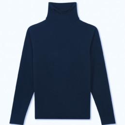 Pull col roulé cachemire bleu  Boutique LILAR Paris