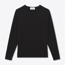 Pull col V en cachemire noir - Boutique créateur à Paris : LILAR