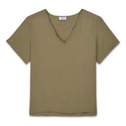 LILAR Paris - T-shirt kaki col grand V homme