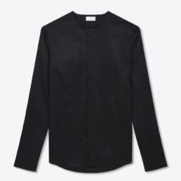 Chemise noire sans col pour homme - Boutique LILAR Paris