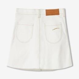 Jupe courte en jean blanc cassé - Boutique prêt-à-porter de luxe - LILAR Paris