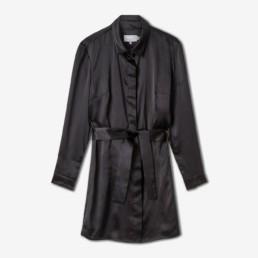 Robe chemise noire en soie noire - Boutique prêt-à-porter de luxe - LILAR Paris