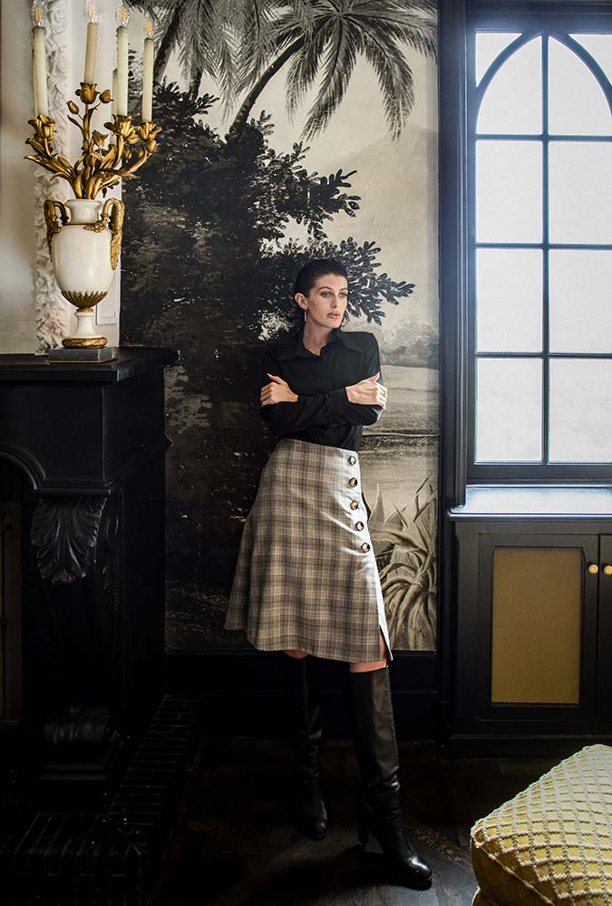 Boutique prêt à porter de luxe pour femme à Paris LILAR - Jupe à carreaux ecossaise